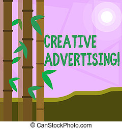 Word writing text Creative Advertising. Business concept for advertising ideas and brings those ideas into being Colorful Sets of Leafy Bamboo on Left Side and Moon or Sun with Round Beam.