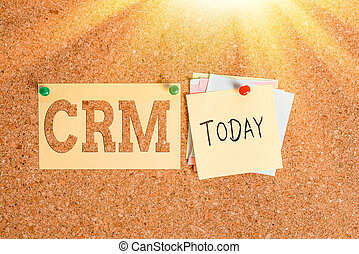 Word writing text Crm. Business concept for Strategy for managing the Affiliation Interactions of an organization Corkboard color size paper pin thumbtack tack sheet billboard notice board.