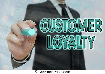 Word writing text Customer Loyalty. Business concept for result of consistently positive emotional experience.