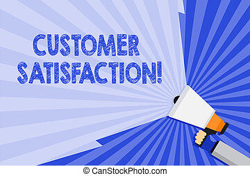 Word writing text Customer Satisfaction. Business concept for Measure of customers fulfillment from a firm Hand Holding Megaphone with Blank Wide Beam for Extending the Volume Range.