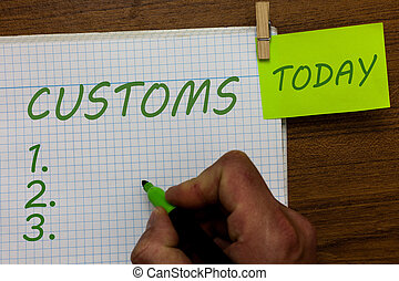 Word writing text Customs. Business concept for Official department administers collects duties on imported goods Man holding marker notebook clothespin hold reminder wooden background.