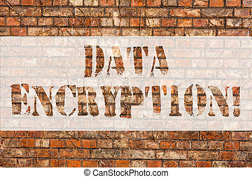 Word writing text Data Encryption. Business concept for another form code that only showing with access secret key Brick Wall art like Graffiti motivational call written on the wall.