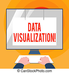 Word writing text Data Visualization. Business concept for representation of information in the form of a chart Hands on Mockup Keyboard Front of Blank White Monitor with Screen Protector.