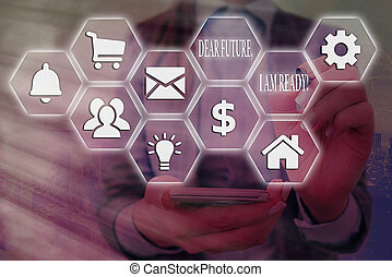 Word writing text Dear Future I Am Ready. Business concept for Confident to move ahead or to face the future Grids and different set up of the icons latest digital technology concept.