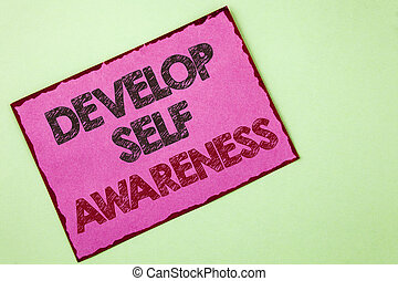 Word writing text Develop Self Awareness. Business concept for What you think you become motivate and grow written on Pink sticky note paper on plain background.