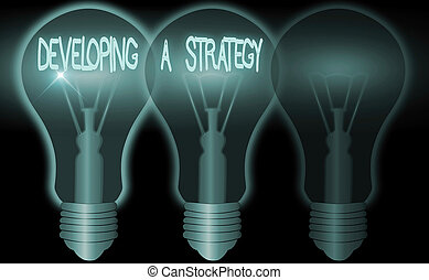 Word writing text Developing A Strategy. Business concept for Discussing the Ideas for New Goal Marketing Vision Planning Business.