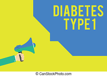 Word writing text Diabetes Type 1. Business concept for condition in which the pancreas produce little or no insulin