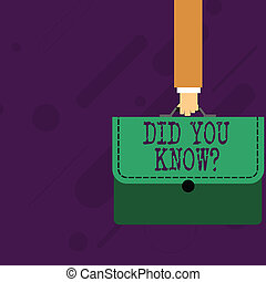 Word writing text Did You Know Question. Business concept for when you are asking someone if they know fact or event Businessman Hand Carrying Colorful Briefcase Portfolio with Stitch Applique.