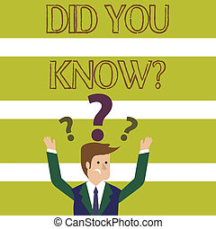 Word writing text Did You Know Question. Business concept for when you are asking someone if they know fact or event Confused Businessman Raising Both Arms with Question Marks Above his Head.