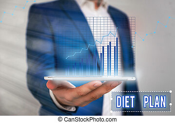 Word writing text Diet Plan. Business concept for detailed proposal for doing or achieving a heathy eating habit.