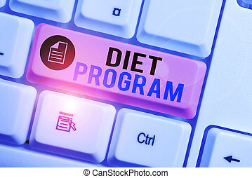 Word writing text Diet Program. Business concept for practice of eating food in a regulated and supervised fashion White pc keyboard with empty note paper above white background key copy space.