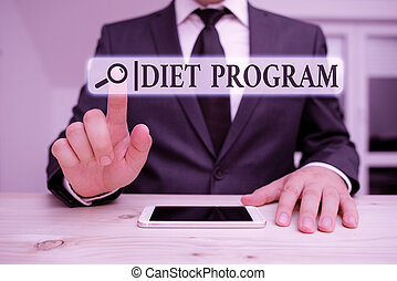 Word writing text Diet Program. Business concept for practice of eating food in a regulated and supervised fashion Male human wear formal clothes present presentation use hi tech smartphone.