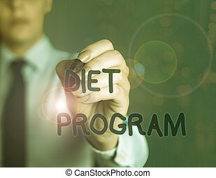 Word writing text Diet Program. Business concept for practice of eating food in a regulated and supervised fashion.