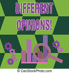 Word writing text Different Opinions. Business concept for a conflict of opposed ideas or attitudes or goals Magnifying Glass Over Bar Column Chart beside Cog Wheel Gears for Analysis.
