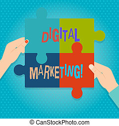Word writing text Digital Marketing. Business concept for market products or services using technologies on Internet Four Blank Multi Color Jigsaw Puzzle Tile Pieces Put Together by Human Hands.