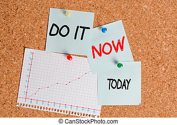 Word writing text Do It Now. Business concept for not hesitate and start working or doing stuff right away Corkboard color size paper pin thumbtack tack sheet billboard notice board.