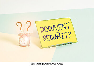 Word writing text Document Security. Business concept for means in which important documents are filed or stored Mini size alarm clock beside a Paper sheet placed tilted on pastel backdrop.
