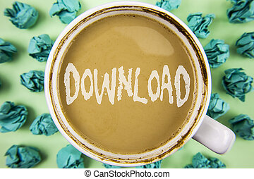 Word writing text Download. Business concept for Saving multiple file attachments to local hard disk drive location written on Tea in White Cup within Crumpled Paper Balls on plain background.