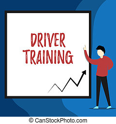 Word writing text Driver Training. Business concept for prepares a new driver to obtain a driver s is license View young man standing pointing up blank rectangle Geometric background.