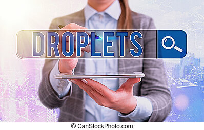 Word writing text Droplets. Business concept for very small ...