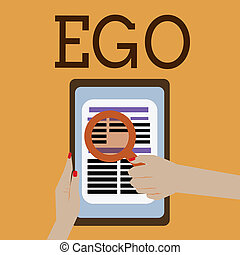 Word writing text Ego. Business concept for Sense of selfesteem selfworth of a person Conscious thinking matter