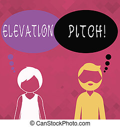 Word writing text Elevator Pitch. Business concept for short description of product business idea given to investor Bearded Man and Woman Faceless Profile with Blank Colorful Thought Bubble.