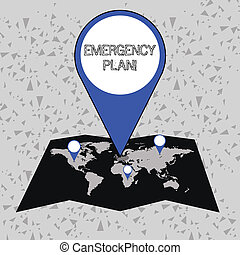 Word writing text Emergency Plan. Business concept for actions developed to mitigate damage of potential events Colorful Huge Location Marker Pin Pointing to an Area or GPS Address on Map.