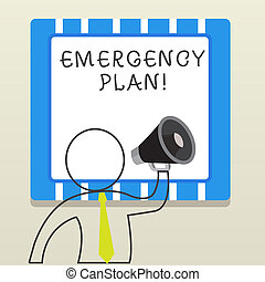 Word writing text Emergency Plan. Business concept for actions developed to mitigate damage of potential events.