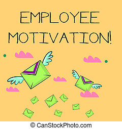 Word writing text Employee Motivation. Business concept for Energy that a company s is workers bring to their jobs Many Colorful Airmail Flying Letter Envelopes and Two of Them with Wings.