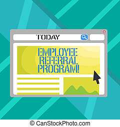 Word writing text Employee Referral Program. Business concept for strategy work encourage employers through prizes.