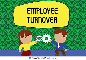 Word writing text Employee Turnover. Business concept for Number or percentage of workers who leave an organization Standing young couple sharing gear. Man tie woman skirt commerce relation.