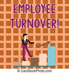 Word writing text Employee Turnover. Business concept for the percentage of workers who leave an organization Smiling Businessman Climbing Colorful Bar Chart Following an Arrow Going Up.