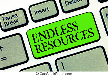 Word writing text Endless Resources. Business concept for...