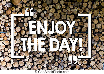 Word writing text Enjoy The Day. Business concept for Enjoyment Happy Lifestyle Relaxing Time Wooden background vintage wood wild message ideas intentions thoughts.