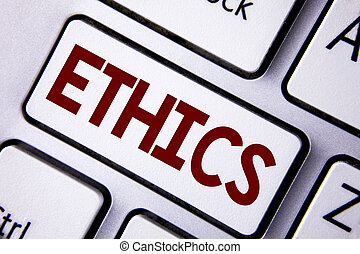 Word writing text Ethics. Business concept for Maintaining equality balance among others having moral principles written on White Keyboard Key with copy space. Top view.