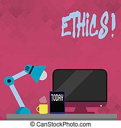 Word writing text Ethics. Business concept for Maintaining equality balance among others having moral principles.