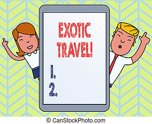 Word writing text Exotic Travel. Business concept for ...