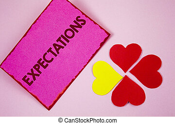 Word writing text Expectations. Business concept for Huge sales in equity market assumptions by an expert analyst written on Sticky note paper on plain Pink background Paper Hearts next to it.