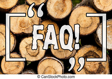 Word writing text Faq. Business concept for Frequently asked question for clearing up confusions Wooden background vintage wood wild message ideas intentions thoughts.