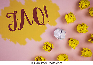 Word writing text Faq Motivational Call. Business concept for Frequently asked question for clearing up confusions written on Painted background Crumpled Paper Balls next to it.