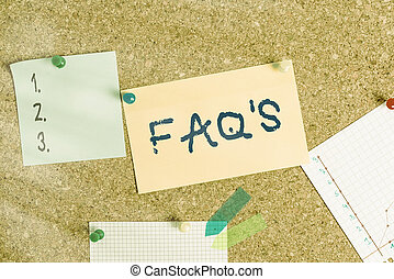 Word writing text Faq S. Business concept for list of questions and answers relating to particular subject Corkboard color size paper pin thumbtack tack sheet billboard notice board.