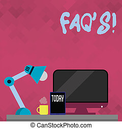 Word writing text Faq S. Business concept for Multiple questions answered for online product.