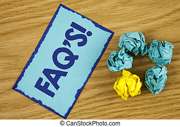 Word writing text Faq'S Motivational Call. Business concept for Multiple questions answered for online product written on Sticky Note paper on wooden background Paper Balls next to it.