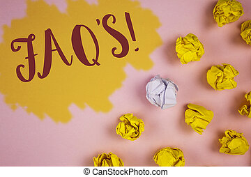 Word writing text Faq'S Motivational Call. Business concept for Multiple questions answered for online product written on Painted background Crumpled Paper Balls next to it.