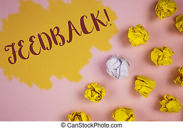Word writing text Feedback Motivational Call. Business concept for Rating an economical local grocery store written on Painted background Crumpled Paper Balls next to it.