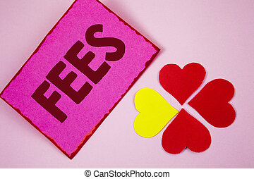 Word writing text Fees. Business concept for Online creative agency charges product components hourly costs written on Sticky note paper on plain Pink background Paper Hearts next to it.