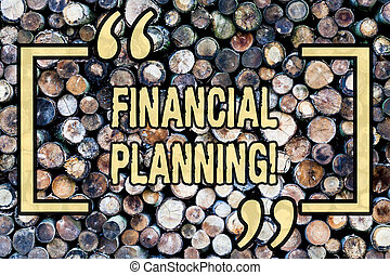 Word writing text Financial Planning. Business concept for Accounting Planning Strategy Analyze Wooden background vintage wood wild message ideas intentions thoughts.