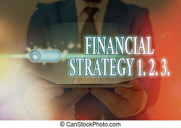 Word writing text Financial Strategy 1 2. 3.. Business concept for build on insights from a business context Graphics padlock for web data information security application system.