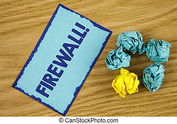 Word writing text Firewall Motivational Call. Business concept for Malware protection prevents internet frauds written on Sticky Note paper on wooden background Paper Balls next to it.