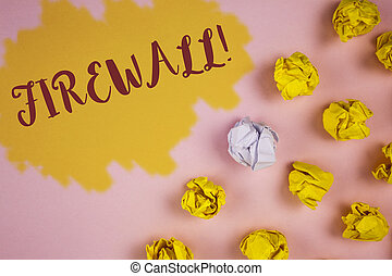 Word writing text Firewall Motivational Call. Business concept for Malware protection prevents internet frauds written on Painted background Crumpled Paper Balls next to it.